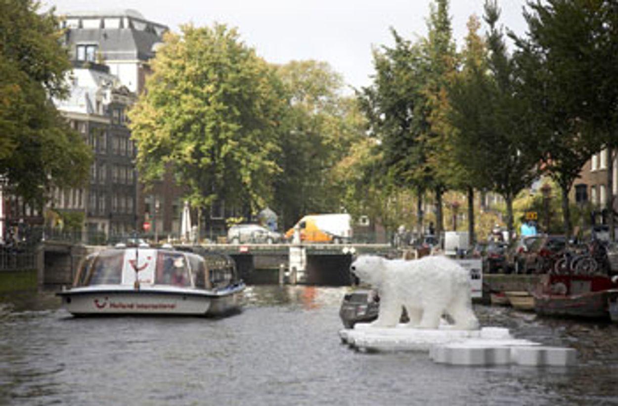 Afbeelding van IJsbeer gesignaleerd in de Amsterdamse grachten