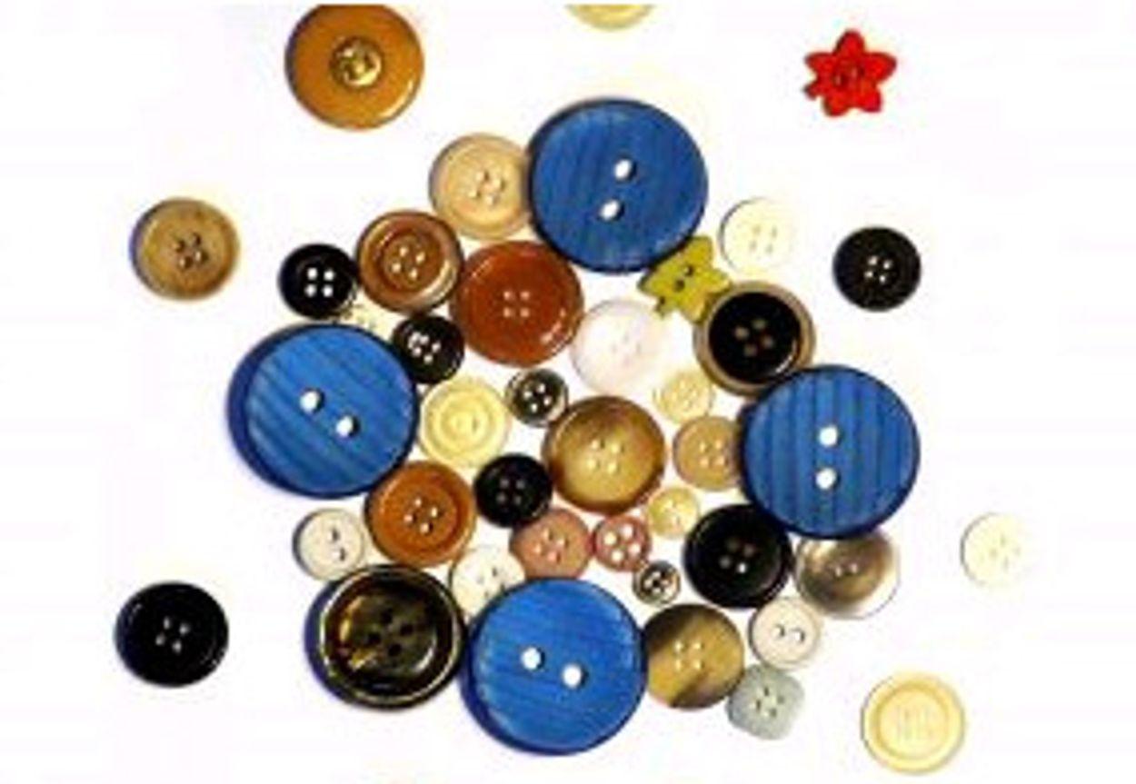 Afbeelding van Blauwe knoopjes aangenaaid